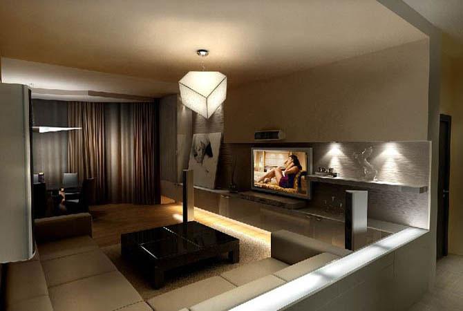 дизай и интерьер для однокомнатной квартиры