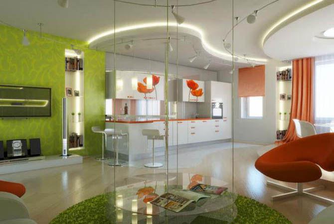 дизайн подвесных потолков квартир